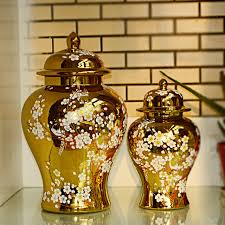 Decorative Jars And Vases Plum blossom Golden color glazed jingdezhen high temperature 87