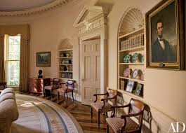 bush oval office. Bush Oval Office. At Home With President George W. And Laura In The Office