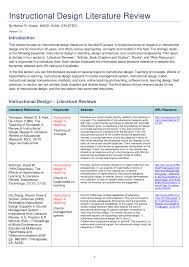 Instructional Design Examples In Education Pdf Instructional Design Literature Review
