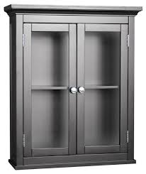 Espresso Finish Madison Avenue Wall Cabinet w Glass Doors  transitional-bathroom-cabinets-and