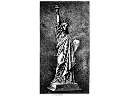 the original design patent for the statue of liberty included this image which isn t the final picture of what it would look like but shows how far