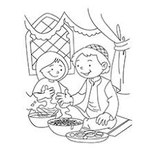 ramadan coloring pages children enjoying delicacies
