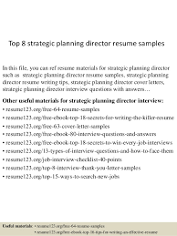 Top 8 strategic planning director resume samples In this file, you can ref  resume materials ...