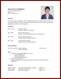 free resume templates students no experience for highschool ...