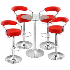 zenith bar stool and vetro table set red