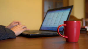 laptop office desk. Modren Laptop Businessman Working At Office Desk With His Laptop And Drinking Coffee  Hands Focus Intended Office B