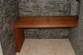 wall mounted teak wood shower bench
