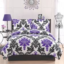 bedroom black and white and purple bedding large porcelain tile wall decor