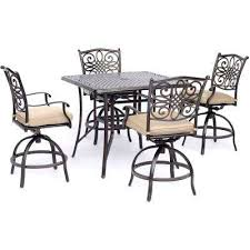 traditions 5 piece aluminum outdoor high dining set with tan cushions 4 sling swivel