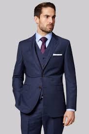 Purple Tie Light Blue Shirt Simple Suit Combo Navy Three Piece Suit With A Light Blue