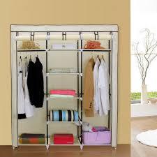 1 mics portable clothes closet non woven fabric wardrobe double rod storage organizer