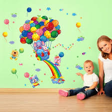 cartoon animals balloon wall stickers bedroom romovable wall mural