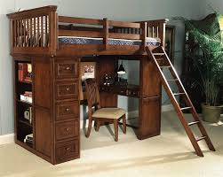 the american spirit jr twin loft bed raises a twin bed to lookout heights clearing space beneath for its built in desk chest of drawers and bookcase