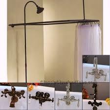 Clawfoot Tub Deckmount Shower Enclosure Combo WGooseneck Faucet Bath Shower Combo Faucet