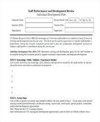 Work Development Plan Template Staff Individual Word