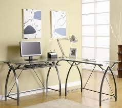 coaster shape home office computer desk. L-Shape Computer Desk With Glass Top In Gunmetal Finish By Coaster Home Furnishings. Shape Office S