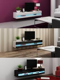 Tv Wall Units High Gloss Tv Stand Cabinet With Led Lights Entertainment