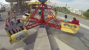 scrambler amusement park ride pov and cool shots fun spot america
