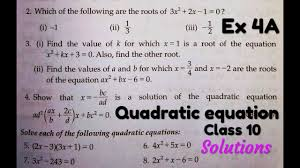 class 10 rs aggarwal ex 4a q no 2 solutions quadratic equations how to find roots