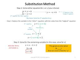 substitution method step 1 solve either equation for x or y your choice