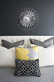 >how to decorate bed with pillows bedroom contemporary with wall art  how to decorate bed with pillows bedroom contemporary with grey walls wall art yellow accent