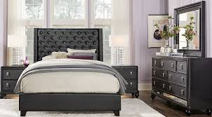 black furniture for bedroom. Sofia Vergara Paris Black 5 Pc Queen Upholstered Bedroom Furniture For
