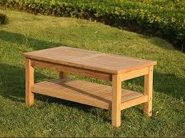 teak garden coffee table with shelf