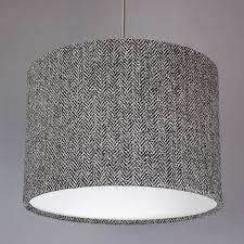 dark grey herringbone harris tweed lampshade