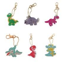 1/6 Piece 5DDIY <b>Diamond</b> Painting Keychain <b>Full</b> Cartoon <b>Dinosaur</b> ...
