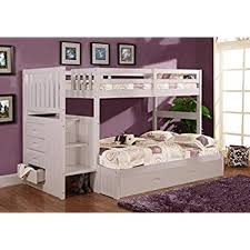 bunk bed with trundle and stairs. Contemporary Bunk Discovery World Furniture Twin Over Full Stair Stepper Bed With Trundle In  White Finish On Bunk With And Stairs R