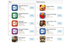 App Store Game Charts Microsofts Office For Ipad Suite Dominates App Store Charts