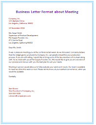 5th Business Letter Format about Meeting