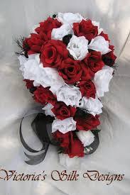 silk cascade wedding bouquet red black and white Wedding Bouquets Black And White like this item? black and white silk wedding bouquets
