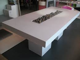 agreeable diy concrete dining table top and white wooden concrete block table base