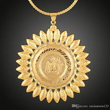 whole hot 18k gold plated sun necklace fashion personalized design hip hop jewelry punk rock micro men women round pendant necklace pendant for necklace