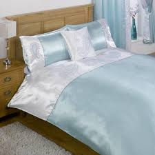 sra double bed and curtain set duck egg blue