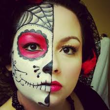 beautiful colorful sugar skull makeup half face