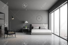 Concrete Floor Bedroom Design Master Bedroom Interior With Gray Walls Concrete Floor Bed