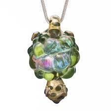 hand blown dichroic glass turtle pendant