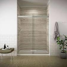 frameless sliding shower door in silver with handle