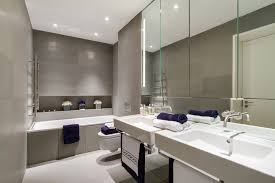 large bathroom mirrors Bathroom Contemporary with concrete floor