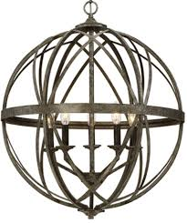 lakewood antique silver iron sphere pendant light 24 wx28 h