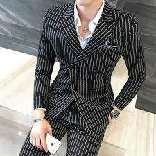 fashion striped double breasted mens