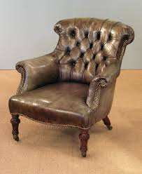 Upholstered armchairs, Sofas - Victorian button back easy chair, with  lovely aged leather upholstery