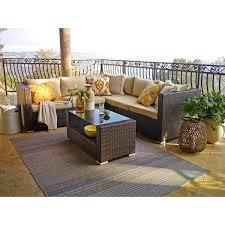 outdoor wicker sectional the brown 4 piece outdoor wicker sectional sofa set outdoor rattan furniture