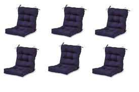 modern navy blue outdoor chair cushion set of 6 thick patio seat cushions pads for