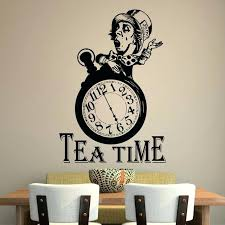 kitchen wall decals with funny clock silhouette tea time wall decals for kitchen wall posters vinyl wall stickers home decal kitchen wall decals uk bgn