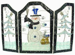stained glass snowman stained glass inspired fireplace screen from the