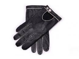black and off white driving gloves in perforated lamb nappa leather by fort belvedere