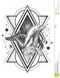 дизайн стиля искусства татуировки дельфина океана вектора творческий